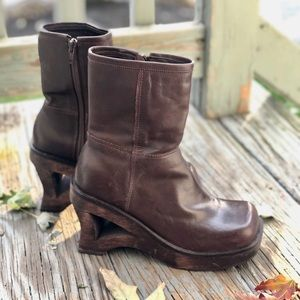 Two Lips Brown Leather Platform Booties